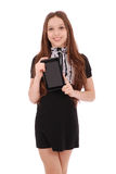 Smiling student teenage girl with tablet pc Stock Photo