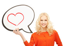 Smiling student with text bubble and heart in it Royalty Free Stock Image