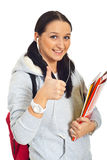 Smiling student woman give thumbs Stock Photo