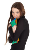 Smiling student woman with note pads Royalty Free Stock Photos