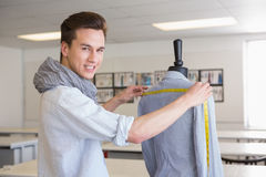 Smiling student working with model. At the college Royalty Free Stock Image