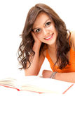 Smiling student young woman with book Stock Photography