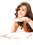 Smiling student young woman with book Stock Photos