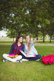 Smiling students taking a selfie outdoor Stock Photo