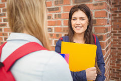 Smiling students talking outdoor. At university Royalty Free Stock Image