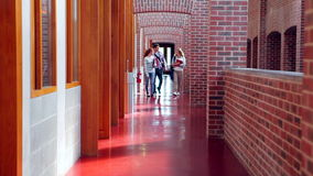 Smiling students walking down the hall