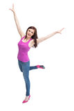 Smiling stylish brunette wearing high shoes cheering up Royalty Free Stock Photo