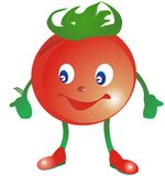 Smiling stylized  tomato in  red boots Stock Photos