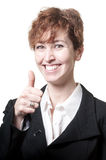 Smiling success short hair business woman doing ok Royalty Free Stock Images