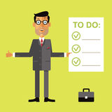Smiling successful business man holding clipboard with to do check list. Vector illustration in flat design style on green background Stock Photography