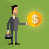 Smiling successful business man holding a coin with a dollar sign. Vector illustration in flat design style on green background Royalty Free Stock Photography