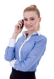 Smiling successful business woman with cell phone Stock Photo