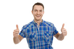 Smiling successful man thumbs up Stock Photography
