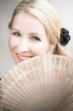 Smiling Summer Fan Woman Royalty Free Stock Images