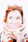 Smiling Summer Snack. A Woman Showcases A Wide Smiling Summertime Expression With A Watermelon Grin Stock Images