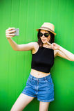 Smiling summer woman with hat and sunglasses Stock Photos