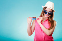 Smiling summer woman holds cake in hand Royalty Free Stock Photo