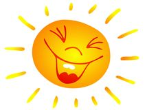 Smiling sun. Clip art illustration of a smiling sun; jpg from vector file; eps file included as additional format Stock Photos