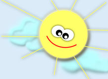 Smiling sun. In the sky with clouds Stock Photography