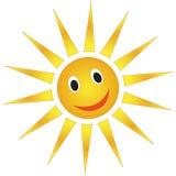 Smiling sun. Cartoon weather forecast sun isolated over white background Stock Photo