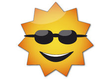 Smiling Sun. With black glasses Stock Photography