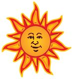 Smiling Sun. Vector image created in Illustrator by myself, featuring the sun with a smiling face in multiple  bright colours Royalty Free Stock Image