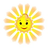 Smiling sun with animated rays Stock Photo
