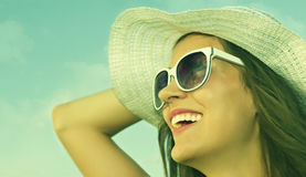 Smiling at the sun Royalty Free Stock Image