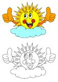 Smiling sun behind a cloud. Smiling sun behind the clouds like a coloring book for young children - vector Stock Photos