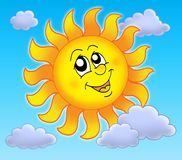 Smiling Sun on blue sky. Color illustration Royalty Free Stock Image
