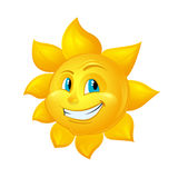Smiling Sun Cartoon Character isolated on white background Royalty Free Stock Images