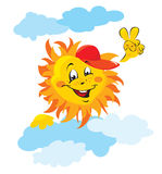 Smiling sun cartoon with clouds Royalty Free Stock Image