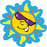 Smiling sun. A cartoon illustration of a smiling sun wearing sunglasses Royalty Free Stock Images