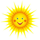 Smiling sun cartoon isolated over white. Cute smiling orange sun cartoon isolated on white background, element for design. Vector illustration Stock Photos
