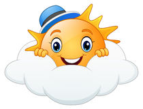 Smiling sun cartoon wearing blue cap with cloud. Illustration of Smiling sun cartoon wearing blue cap with cloud Stock Photo