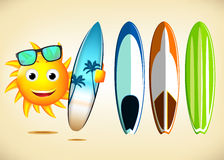 Smiling Sun Character Holding Sets of Surfboards Stock Photos