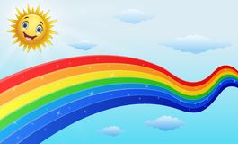Smiling sun character near the rainbow Royalty Free Stock Photo