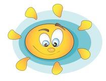 Smiling Sun. Children`s design element. The sun on a blue background. Cute sun Stock Image