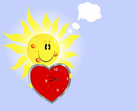 Smiling sun with clock in the shape of heart Royalty Free Stock Photos
