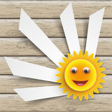 Smiling Sun Cutting Banners Royalty Free Stock Images