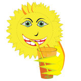 Smiling Sun Drinking Orange Juice Stock Image
