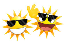 Smiling sun Emoticon holding a glasses Stock Images