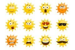 Smiling sun emoticons. Vector cartoon smile set. Smiling sun emoticons. Vector cartoon smile sun set. Cartoon face sun illustration Royalty Free Stock Images