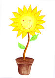 Smiling Sun Flower water color Stock Photos