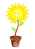 Smiling Sun Flower water color Stock Image