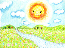 Smiling sun with flowers field and river oil pastel painted. Smiling sun with flowers field and river oil pastel on paper Royalty Free Stock Photography