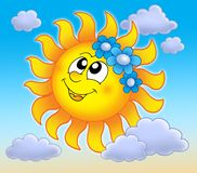 Smiling Sun with flowers on sky. Smiling Sun with flowers on blue sky - color illustration Royalty Free Stock Photos