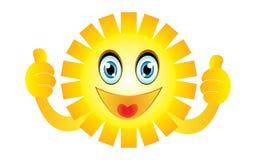 Smiling sun giving thumb up Royalty Free Stock Photos