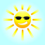 Smiling sun with glasses Royalty Free Stock Photos