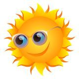 Smiling sun with glasses. Vector illustration of sun with  blue eyes and glasses  isolated Stock Photo